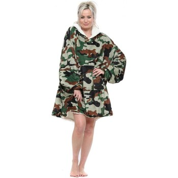 Home Women Dressing gown Emily & Me Green Camo Fluffy Cosy Oversized Borg Hoodie Green