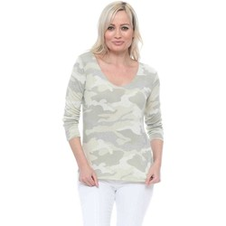 Clothing Women Tops / Blouses Made In Italia Green Camo Sparkle Trim Long Sleeve Top Green