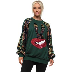 Clothing Women Sweaters Aikha Green Sequinned Bunny Lips Sweater Green