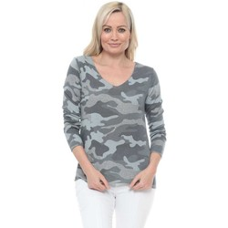Clothing Women Tops / Blouses Made In Italia Grey Camo Sparkle Trim Long Sleeve Top Grey