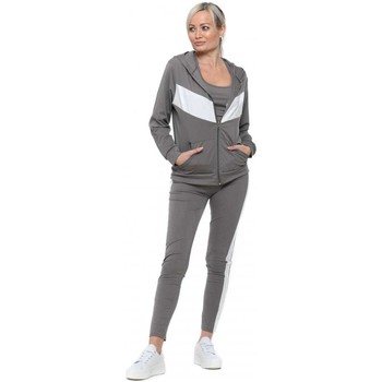 Clothing Women Tracksuits Boutique Grey Contrast Sporty 3 Piece Tracksuit Grey