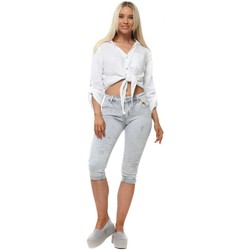 Clothing Women 3/4 & 7/8 jeans Monday Premium Grey Crystal Pedal Pusher Jeans Grey
