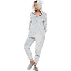 Clothing Women Jumpsuits / Dungarees Forever Dreaming Grey Koala Fluffy Cosy Hooded Onesie Grey