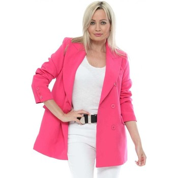 Clothing Women Jackets Attentif Hot Pink Long Double Breasted Blazer Pink