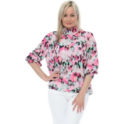 Clothing Women Tops / Blouses Made In Italia Hot Pink Ombre Leopard High Neck Blouse Pink