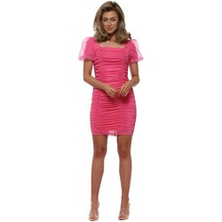 Clothing Women Short Dresses Allyson Hot Pink Ruched Bodycon Mini Dress Pink
