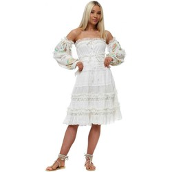 Clothing Women Short Dresses Gipsy Queen Ivory Cotton Frill Embroidered Puff Sleeves Dress White