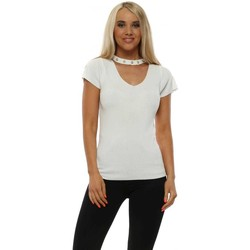 Clothing Women Tops / Blouses R&F Fashion Ivory Fine Knit Pearl Choker Top White