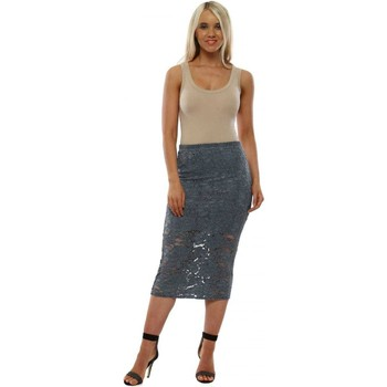 Clothing Women Skirts A Postcard From Brighton Leila Lace Pencil Skirt In Midnight Grey Blue