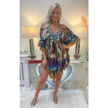 Clothing Women Tops / Blouses Chloe Laetitia Leopard Print Tassle Cold Shoulder Kaftan Top Multicolour