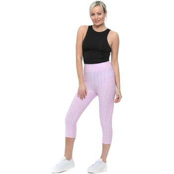 Clothing Women Cropped trousers Boutique Lilac Honeycomb Cropped Gym Leggings Purple