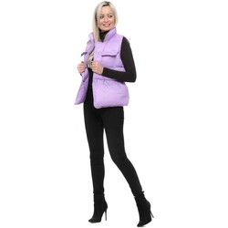 Clothing Women Waistcoasts Flam Mode Lilac Quilted Drawstring Waist Gilet Purple