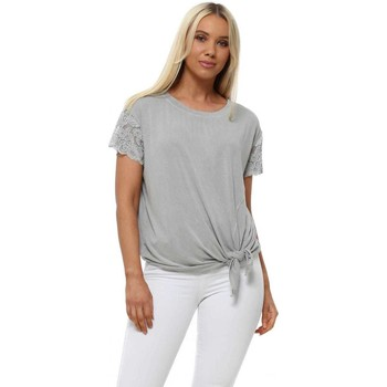 Clothing Women Tops / Blouses A Postcard From Brighton Lisa Ash Grey Lace Sleeve Tie Top Grey