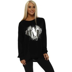 Clothing Women Tops / Blouses Sundae Tee Lucy Black Silver Star Winged Relaxed Long Sleeve Top Black