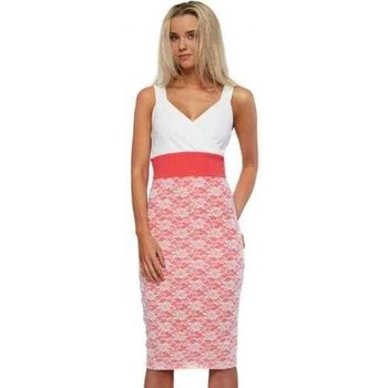 Clothing Women Short Dresses Honor Gold Madison Coral Pink & White Bodycon Midi Dress Pink