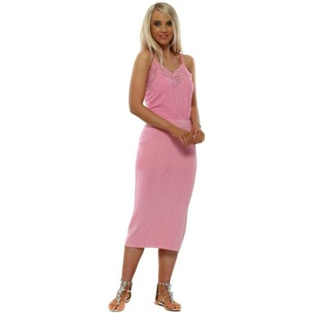 Clothing Women Long Dresses A Postcard From Brighton Milly Petal Pink Jersey Pencil Skirt Pink