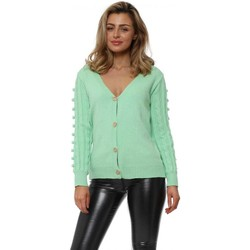 Clothing Women Jackets / Cardigans Exquiss's Mint Green Bobble Sleeve Gold Button Cardigan Green
