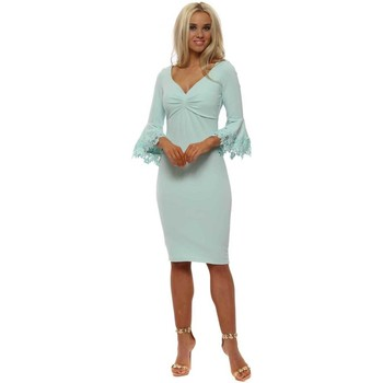 Clothing Women Short Dresses Goddess London Mint Midi Dress With Lace Bell Sleeves Green