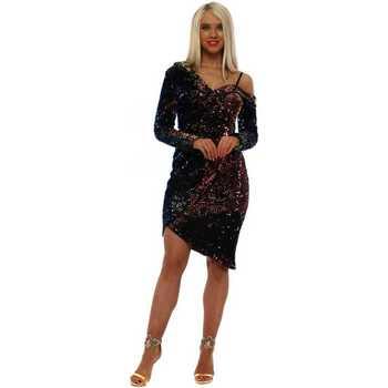 Clothing Women Short Dresses Allyson Multi Mermaid Sequin One Shoulder Wrap Dress Multicolour