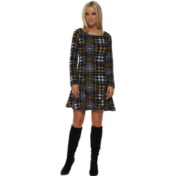 Clothing Women Short Dresses Boutique Navy & Mustard Tweed Fit & Flare Dress Blue