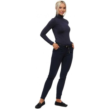 Clothing Women Slim jeans E Diva Navy Belted Skinny Stretch Trousers Blue
