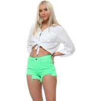 Underwear Women Shorts Daysie Neon Lime Denim Distressed Shorts Green