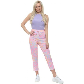 Clothing Women Chinos Boutique Neon Tie Dye Relaxed Casual Trousers Multicolour
