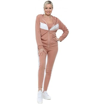 Clothing Women Tracksuits Boutique Nude Contrast Sporty 3 Piece Tracksuit Pink