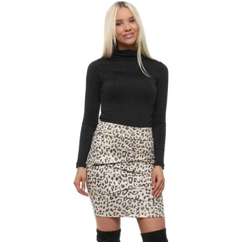 Clothing Women Skirts Capsule Nude Faux Suede Leopard Foil Skirt Pink