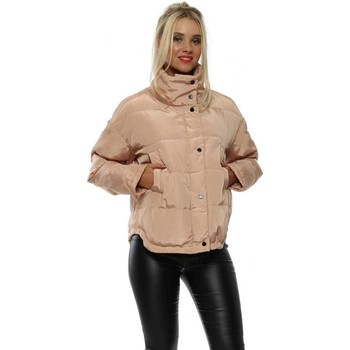 Clothing Women Jackets Attentif Nude Pink Funnel Neck Quilted Jacket Pink