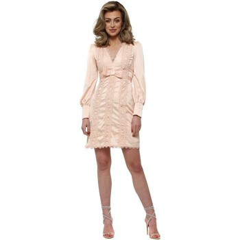 Clothing Women Short Dresses Allyson Peach Butterfly Lace Panels Bow Dress Pink