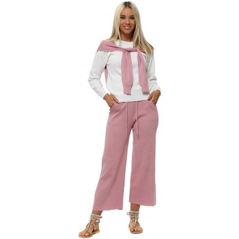 Clothing Women Tracksuits Boutique Pink & Cream Shawl Sleeve Knitted Co-Ord Pink