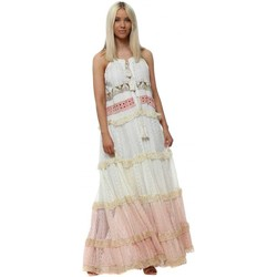 Clothing Women Long Dresses Gipsy Queen Pink & Cream Tiered Lace Tassel Tie Maxi Dress Pink
