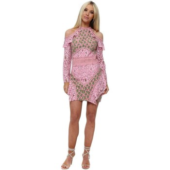 Clothing Women Short Dresses True Decadence Pink & Green Floral Lace Cold Shoulder Mini Dress Pink