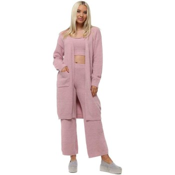 Clothing Women Tracksuits Yu&Me Pink Cosy Knit 3 Piece Lounge Suit Pink
