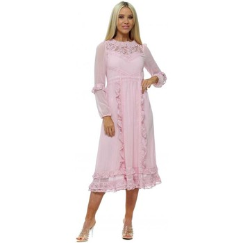 Clothing Women Long Dresses True Decadence Pink Lace Frilly Trim Midi Dress Pink