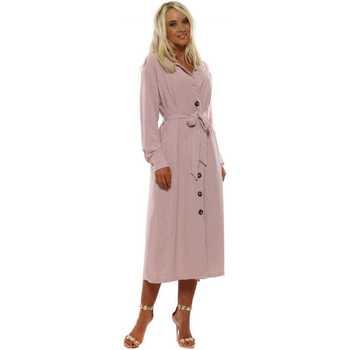 Clothing Women Long Dresses Lovie Look Pink Long Sleeve Shirt Dress Pink