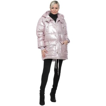 Clothing Women Coats K Zell Pink Pearlised Hooded Quilted Coat Pink