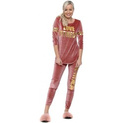 Clothing Women Tracksuits Boutique Pink Velour Love Fitness Co-Ord Pink