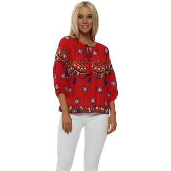 Clothing Women Tops / Blouses Nj Couture Red Boho Embroidered Cotton Short Top Red