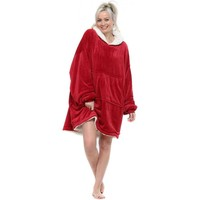 Home Women Dressing gown Emily & Me Red Fluffy Cosy Oversized Borg Hoodie Red