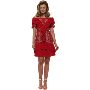 Clothing Women Short Dresses True Decadence Red Lace Pleated Frilly Off The Shoulder Dress Red