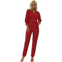 Clothing Women Jumpsuits / Dungarees Boutique Red Pinstripe Wrap Front Jumpsuit Red
