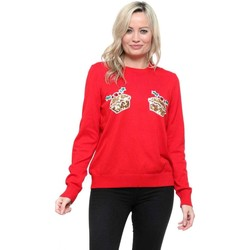 Clothing Women Jumpers Qed London Red Sequinned Mince Pies Christmas Jumper Red