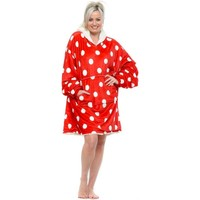 Home Women Dressing gown Emily & Me Red Spotty Fluffy Cosy Oversized Borg Hoodie Red