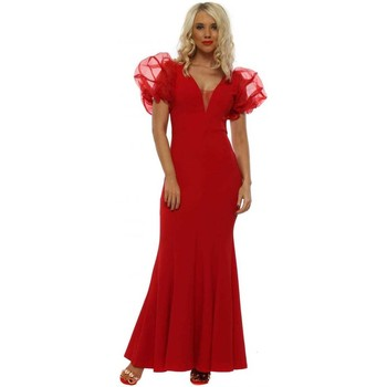 Clothing Women Long Dresses F&p Red Voile Ruffle Shoulder Maxi Dress Red