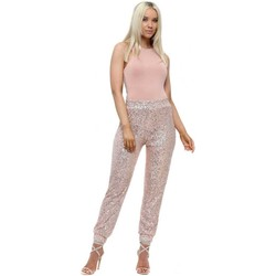 Clothing Women Tracksuit bottoms Vera & Lucy Rose Gold Sequinned Cargo Trousers Pink