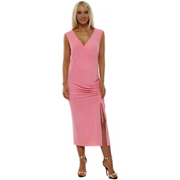Clothing Women Long Dresses A Postcard From Brighton Sassy Flamingo Ruched Wrap Dress Pink