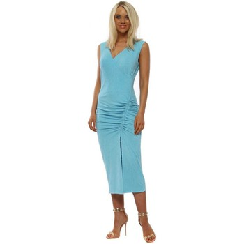 Clothing Women Long Dresses A Postcard From Brighton Sassy Sky Blue Ruched Wrap Dress Blue