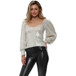 Clothing Women Tops / Blouses Flamant Rose Sequinned Silver Scoop Neck Top Silver